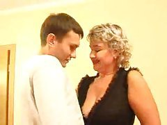 Russian lady in stockings with young man tubes