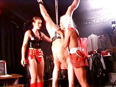 Two girls abuse a male slave tubes