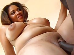 Huge tits curvy girl fucked in the shower tubes