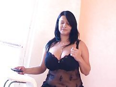 Fat girl in arousing black lingerie tubes