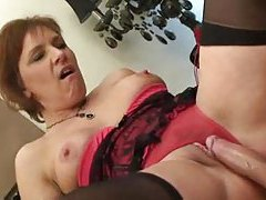 Humping a mature in cute lingerie tube