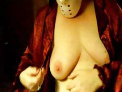 Girl in mask making her tits bleed tubes