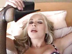 Sarah Vandella in lingerie blowing dude tubes
