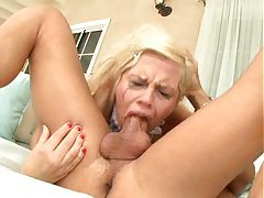 Blonde gagging during deepthroat tubes