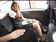 Japanese girl tied up in a car tubes