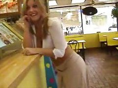 Cute blonde in public wearing almost nothing tubes