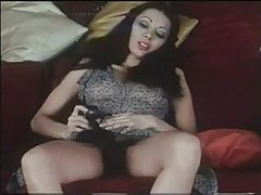 Hairy pussy brunette with perky tits playing tubes