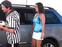 Slutty soccer mom fucked in minivan tubes