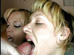Mom and daughter take turns sucking tube