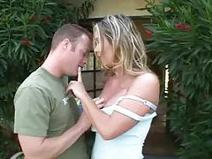 Fabulous blonde milf fucked on her back porch tubes