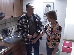 Old lady and daughter fucking guy in kitchen tubes