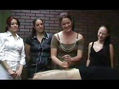 Three girls watch a handjob being given tubes