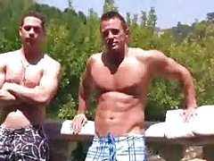 Dudes give head by the pool tubes