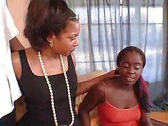 Black mom and daughter laid by black dude tubes