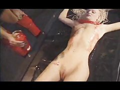 Hot wax all over her sexy body tubes