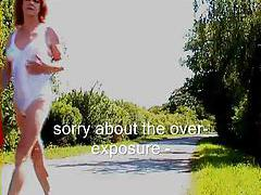 Tgirl walks along the road in her undies tubes