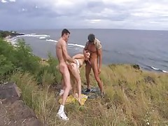 Hot girl double penetrated on a beach tubes