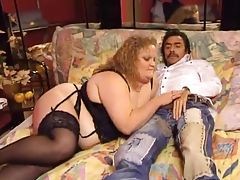 Fat German in lingerie has pussy fisted tubes