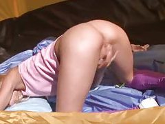 Blonde teen jerking off in the tent tubes