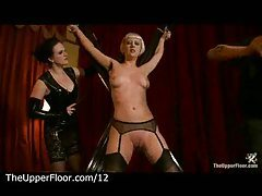 Bound to cross blonde gets flogged and tits clamped tube