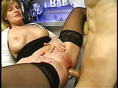 Sexy milf bartender has anal sex tubes