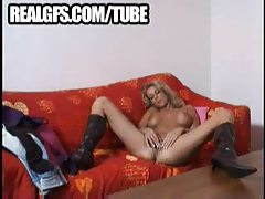 Big titty beauty wearing boots tubes