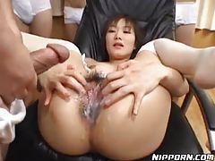 Guys creaming all over her hairy Japanese pussy tubes