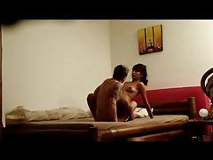Amateur couple on the bed screwing tubes