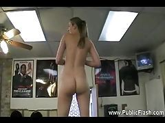 Slim dancing gal showing her tits and pussy tubes