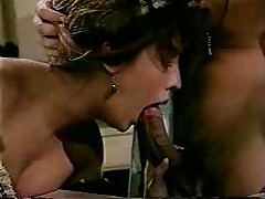 Horny stockings girl in classic porn threesome tubes