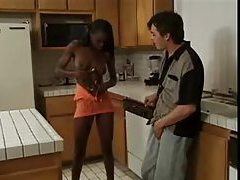 Skinny black chick hardcore with white guy tubes