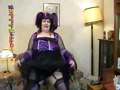 Fat chick dressed as witch and dancing tubes