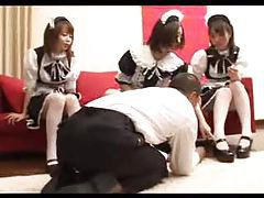 Three Japanese French maids have fun with him tubes