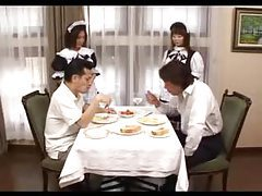 Men served by Japanese French maids tubes