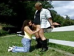 Busty German fucked outdoors by a fence tubes