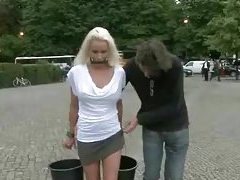 Blonde russian bitch gets humiliated in public places including a museum and gets fucked tubes