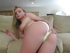In sexy yellow panties waving her ass tubes