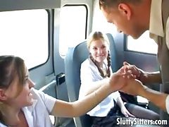 Schoolgirls on the bus share his big cock tubes