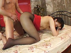 Fucked through a hole in her pantyhose tubes