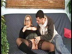 Mature in tasty stockings gives up ass tubes