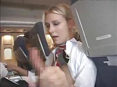 Stewardess giving customer a blowjob and handy tubes