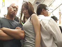 Big Boobs Girl molested on a train tube