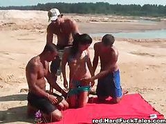 Three guys fuck a bikini girl on a blanket tubes