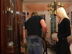 Skinny blonde and the muscular man going at it tubes