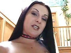 Slut in leather gets a good black cock DP tubes