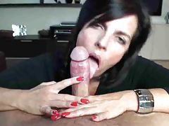 She licks his cock and somehow he cums tubes