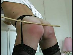 Girl in stockings caned on her ass tubes