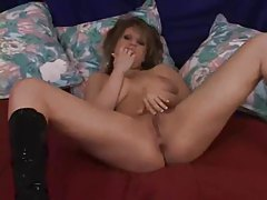 Horny slut in sex black boots boned hard tubes