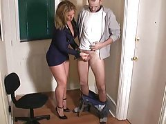 Chick in cop uniform giving a handjob tubes