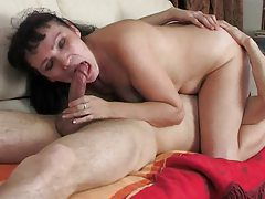 Milf seduces him with kissing and a BJ tube